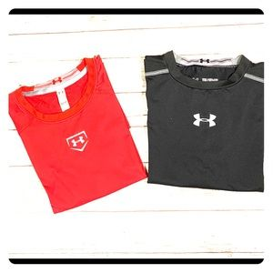 2 Under Armour boys fitted heatgear long sleeves